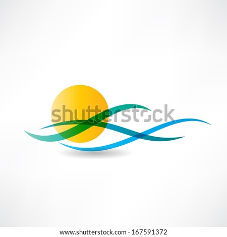 sun sea abstractly icon