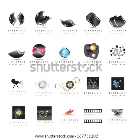 cinema icons set   isolated on