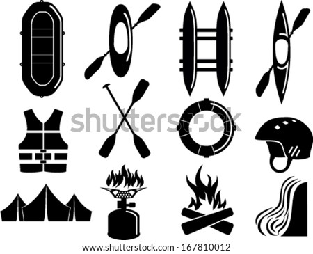 vector set of water rafting