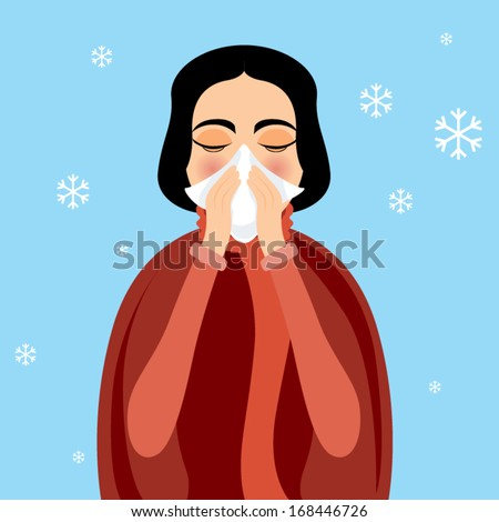 woman blowing nose vector