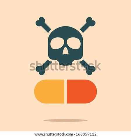 skull and capsule symbol