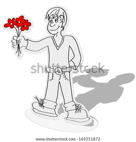 a paper boy offering a bouquet