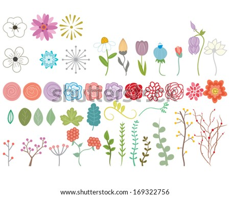 vector doodle flowers and