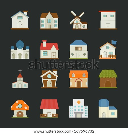 city and town buildings icons