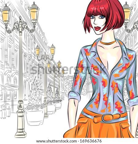 vector attractive fashion girl