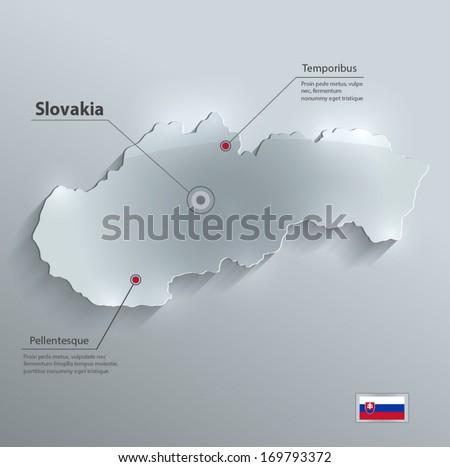 Slovakia Map Vector Slovakia Map Flag Glass Card