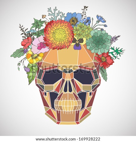 polygonal human skull and