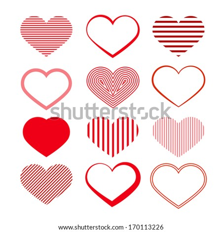 heart set red valentine
