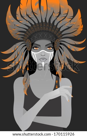 beautiful girl in a headdress