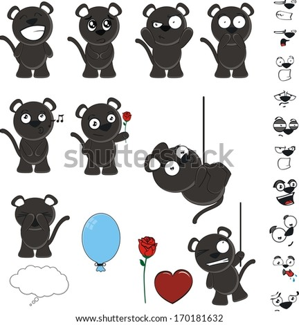 black cat cute set in vector
