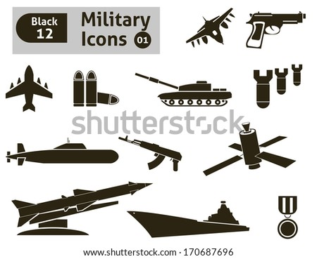 military icons vector set for