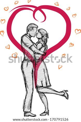 valentine doodle couple's kiss