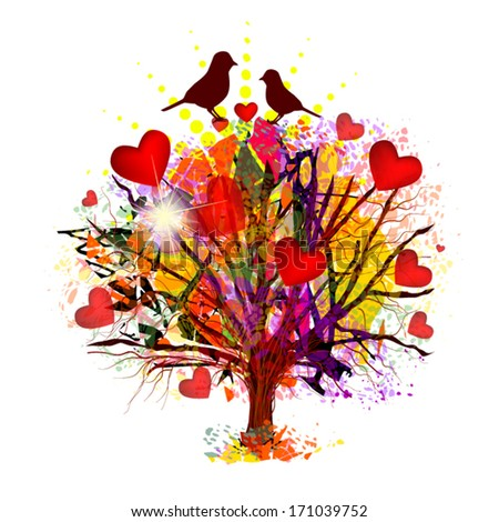 love tree with birds vector