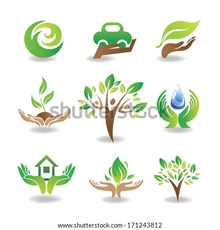 eco design elements  isolated