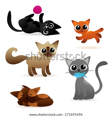 set of cute cat characters