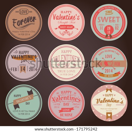 set of vintage valentine's day