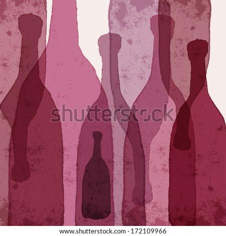 wine bottles watercolor