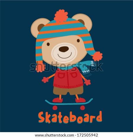 cute teddy bear skateboarding