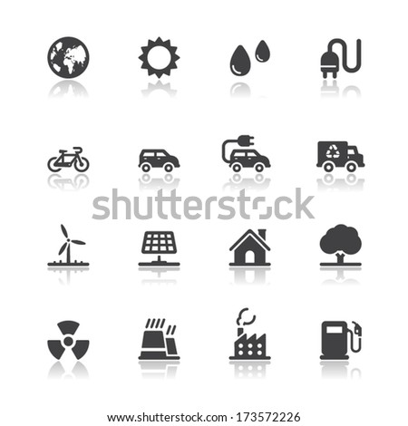 ecology icons with white
