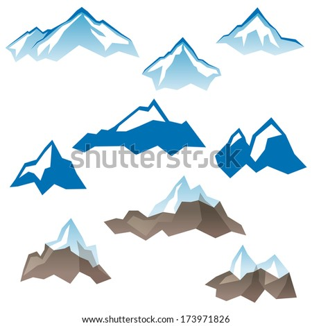 9 stylized mountains icons over