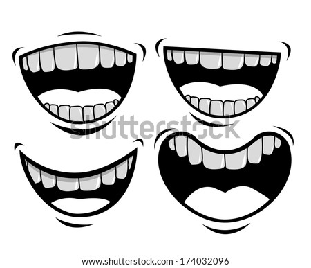 mouth design over white