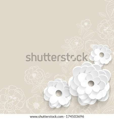 beige background with flowers