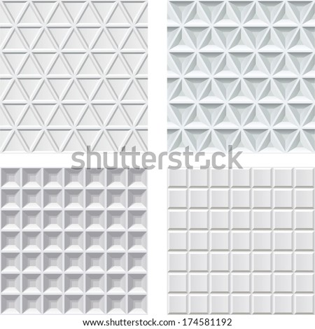 set from 4 seamless relief
