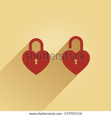 2 lock in the shape of a heart