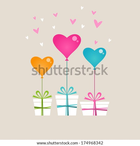 vector gifts with color balloon