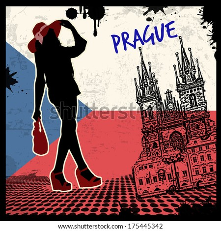 prague vintage grunge poster