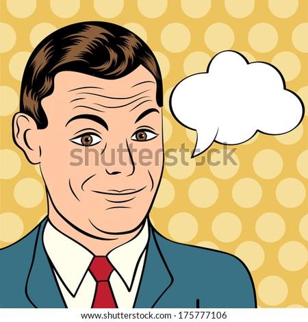 smiling businessman  pop art