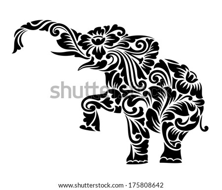 nice elephant floral ornament