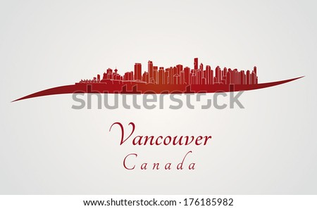 vancouver skyline in red and