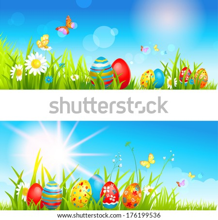 two easter banners multicolor
