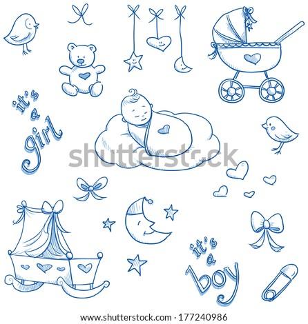 baby icons  toys  teddy  pram