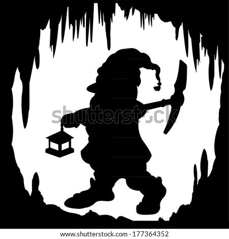 silhouette dwarf in a cave