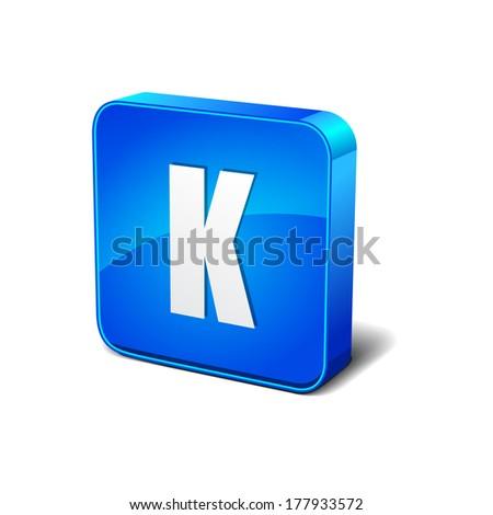 k letter 3d rounded corner blue