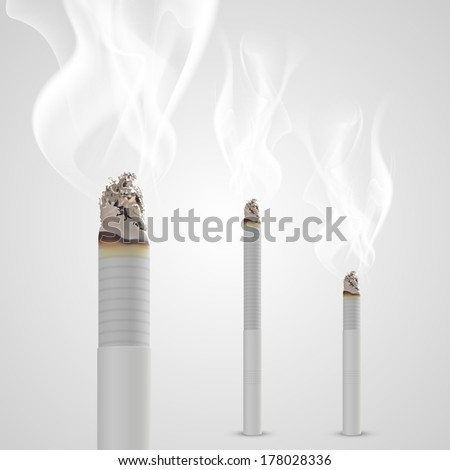 smoldering cigarette with a