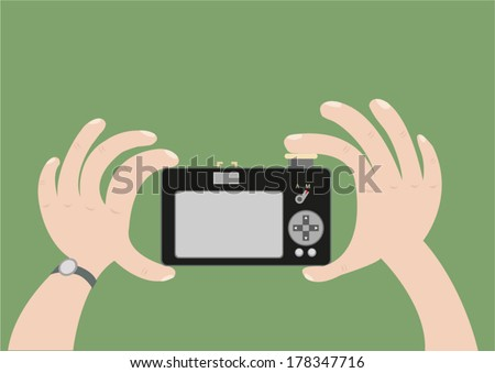 hand of person taking photo