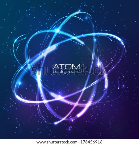 vector shining neon lights atom