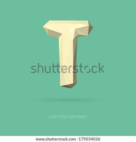 low poly alphabet letter t