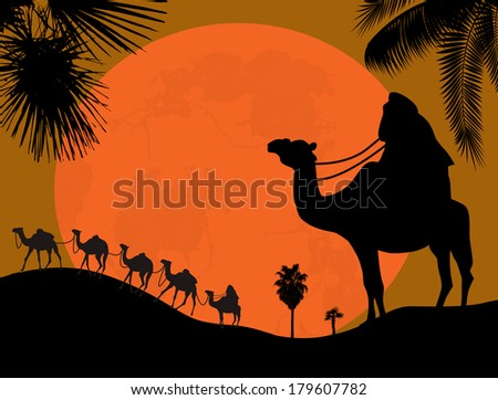 caravan in the desert  vector