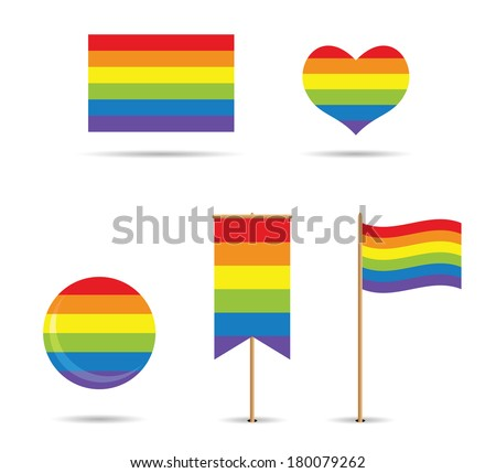 set of gay flags with rainbow