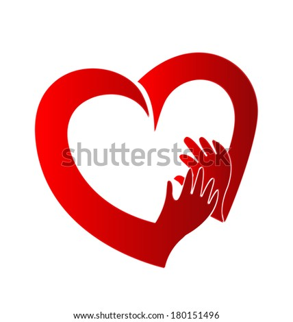 heart and hands vector  icon