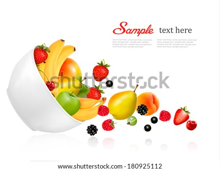 fruit and berries falling from