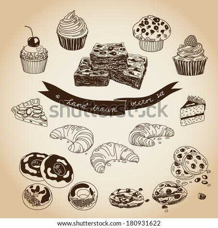vector collection of pie  cakes