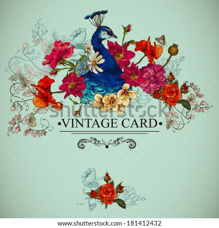 floral vector vintage card with