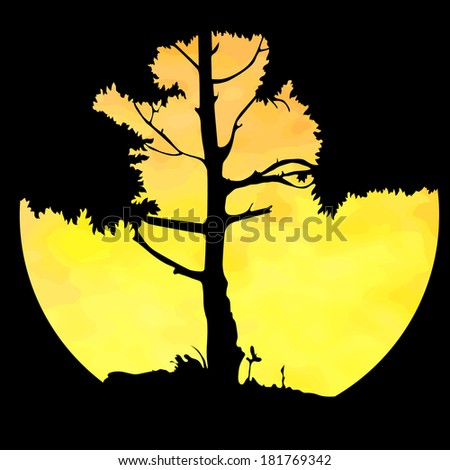silhouette of a tree against