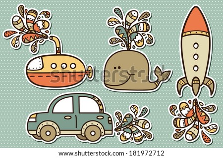 baby boy stickers vector