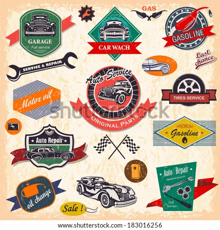set of retro vintage car labels